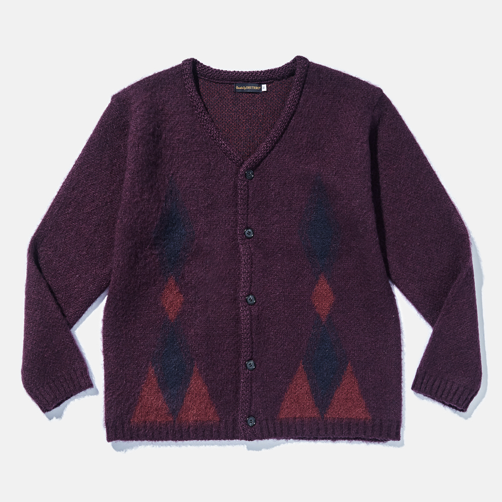 DTR1915 Past Mohair Cardigan Deep Wine